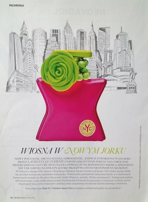Reklamy perfum w prasie Bond No 9 Madison Square Park