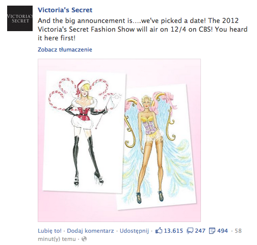 Victoria's Secret Facebook Screenshot Data pokazu